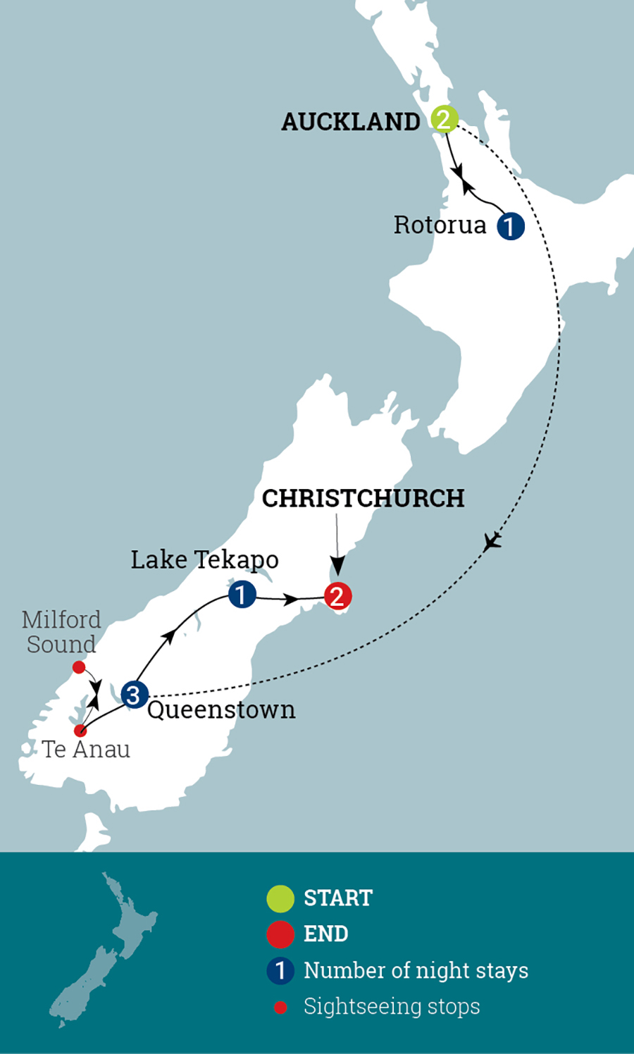 Contrasts of New Zealand Map