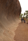 Walking along the base of Uluru
