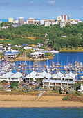 Cullen Bay Marina filled with docked boats and wat