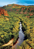 Kakadu escarprment with lush green landscape