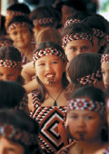 Mari girls with traditional tribal paint on their