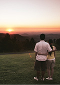 Sunset over the mountains at Lamington National Pa