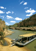 Cruise docked in a sandbank at Katherine Gorge
