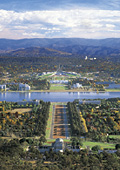 Aerial view of Canberra, with the Parliament House
