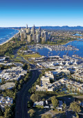 Gold Coast aerial with beach foreshore, high rises