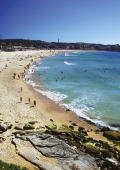 Scenic view of Bondi Beach on a sunny, summer day
