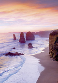 Stunning Twelve Apostles with pink and purple sky