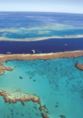 Great Barrier Reef aerial view with contrasting bl