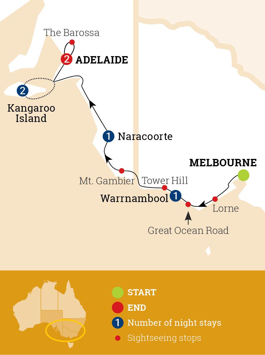 Great Ocean Road & Kangaroo Island Map