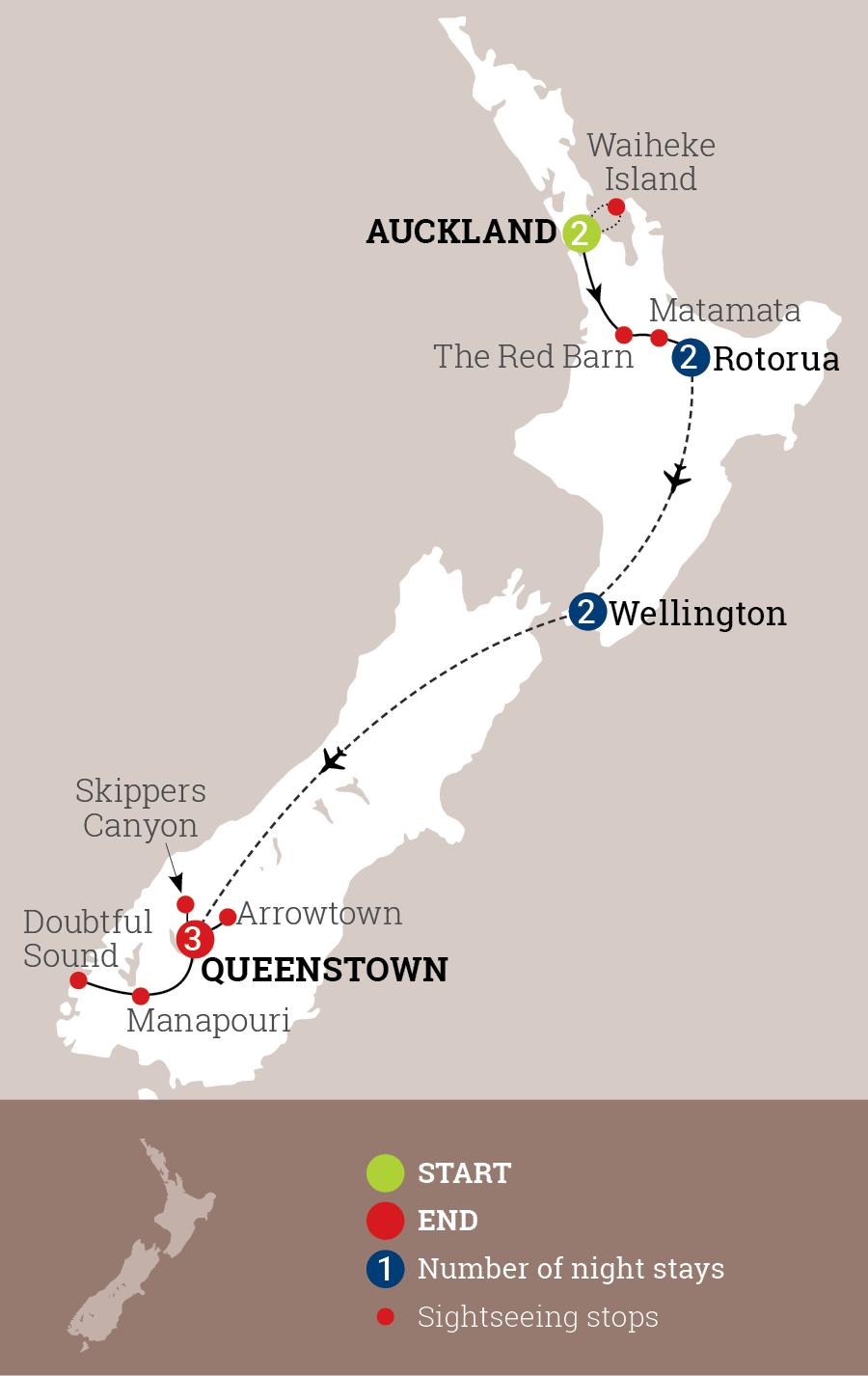 Inspiring New Zealand Map