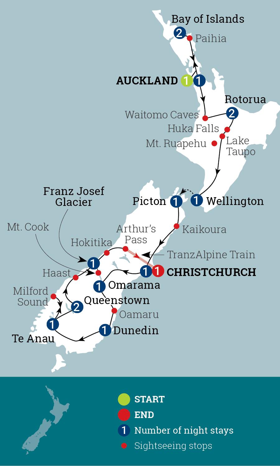 Kia Ora New Zealand Map