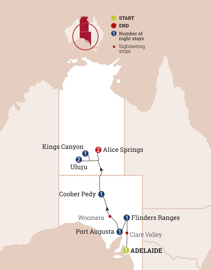 Adelaide to Alice Springs Guided Holiday | AAT Kings