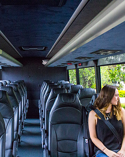 Spacious interior of our larger vehicles, with air conditioning and quality fittings