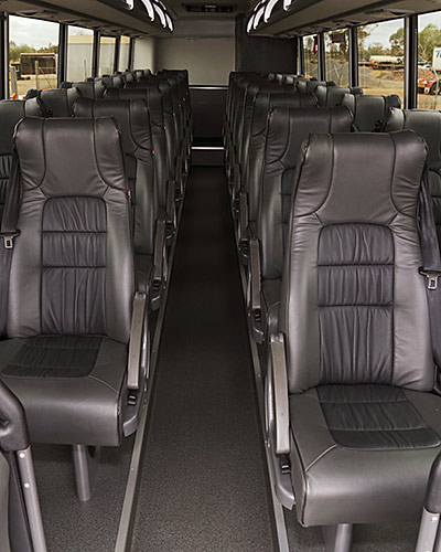 Spacious interior with reclining seats and panoramic windows