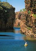 Solo traveller canoeing on Katherine Gorge