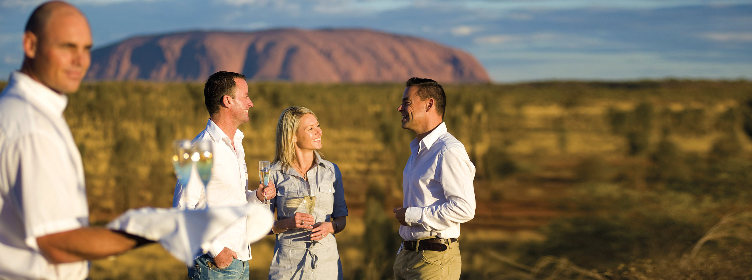 Sparkling wine at Uluru sunset
