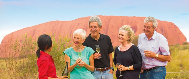 Enjoy wine while watching the beautiful Uluru Sunset