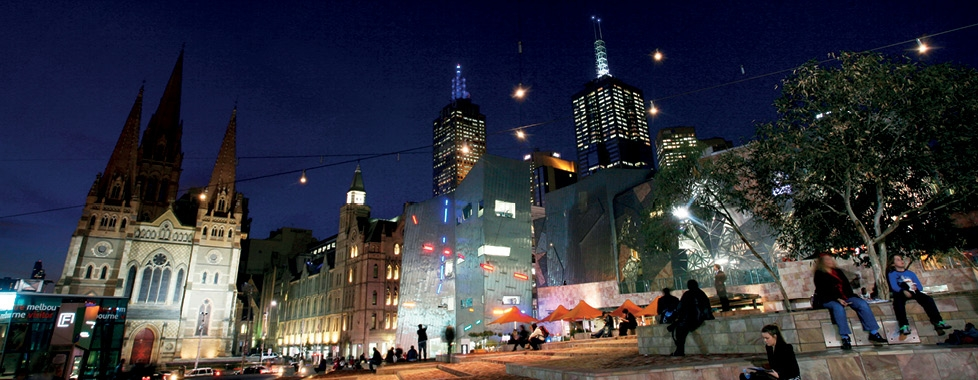 Federation Square at night