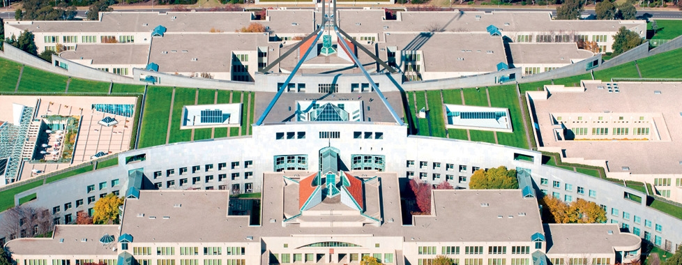 Aerial Parliament House Canberra