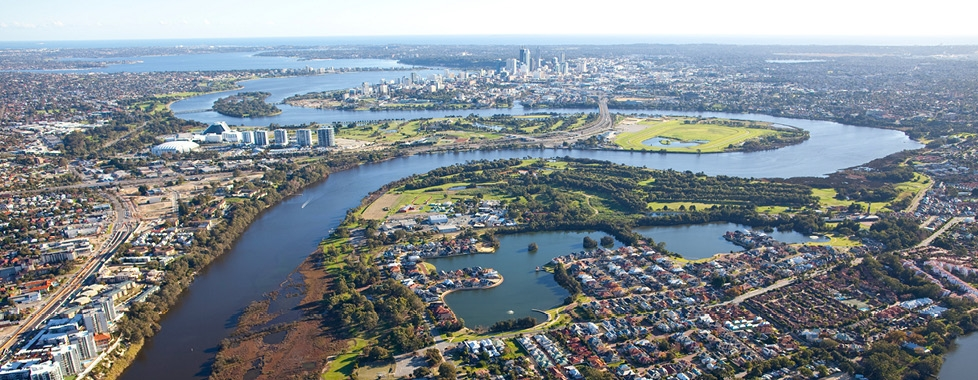 Swan River and Perth Aerial
