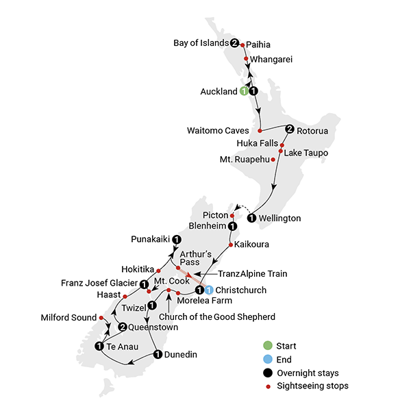New Zealand Tourist Map North Island.18 Day Best Of New Zealand