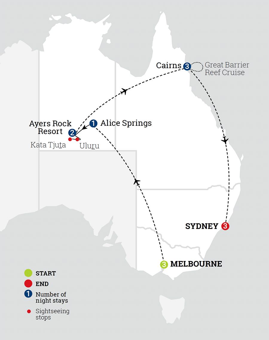 Map Of Australia Showing Uluru.13 Day Guided Holiday Around Australia Aat Kings