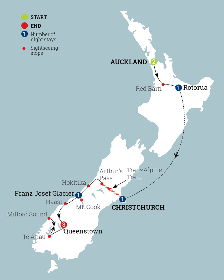 New Zealand Must See Map.Contrasts Of New Zealand Aat Kings
