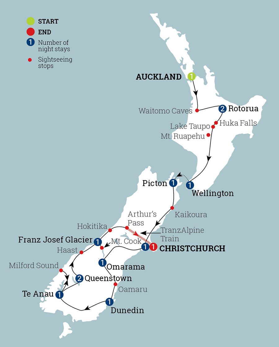 City Map Of New Zealand.New Zealand Holiday Package For 2 Weeks Aat Kings