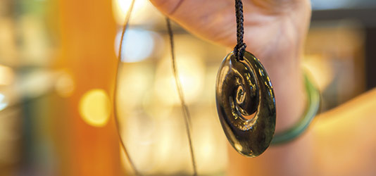 Koru shaped jade necklace from Mountain Jade factory