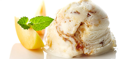 Hokey Pokey ice cream with lemon and garnish